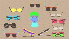 Stellen Sie Entwurfs-Weinleseart der Sonnenbrille von der minimalen bunten zeichnenden ein Vektorabbildung EPS10 vektor abbildung
