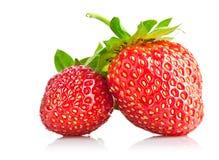 Stellen Sie Erdbeerebeere mit grünem Blatt ein Stockbilder