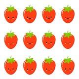Stellen Sie Erdbeergefühlgesicht ein Stellen Sie Erdbeersmiley ein Erdbeeren mit Kawaii stellen auf einem weißen Hintergrund gege vektor abbildung