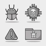 Stellen Sie Erscheinung und Einschmelzentechnologievirus ein Stockbild
