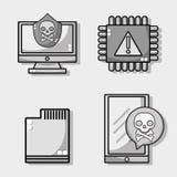 Stellen Sie Erscheinung und Einschmelzentechnologievirus ein Stockbilder