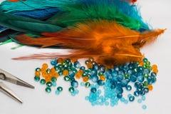 Stellen Sie für die Herstellung von einem Dreamcatcher, Perlen, Thread ein Stockfoto