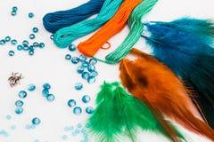 Stellen Sie für die Herstellung von einem Dreamcatcher, Perlen, Thread ein Stockbild