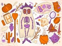 Stellen Sie für Halloween für das Design der lustigen Landschaft ein Getrennt auf weißem Hintergrund stock abbildung
