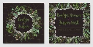 Stellen Sie für Heiratseinladung, Grußkarte, Abwehrdatum, Fahne ein Weinleserahmen mit grünem Farnblatt, -Buchsbaum, -brunia und  stock abbildung