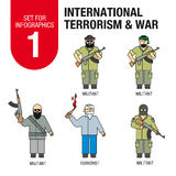 Stellen Sie für infographics # 1 ein: internationaler Terrorismus und Krieg flüchtlinge stock abbildung