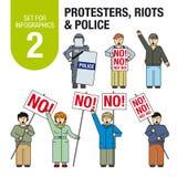 Stellen Sie für infographics # 2 ein: Protestierender, Aufstände, Polizei stock abbildung