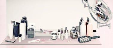 Stellen Sie für Morgenhygiene ein Zahnpasta, Bürsten, Seife, Gel, Balsam, Lizenzfreies Stockbild