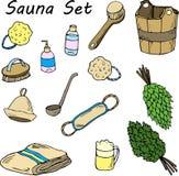 Stellen Sie für Sauna ein Hand gezeichnete Einzelteile für Bad lizenzfreie abbildung
