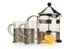 Stellen Sie für Tee von einem Glas und von einem Metall ein Lizenzfreies Stockfoto