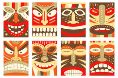 Stellen Sie Fahne, Hintergrund, Flieger, Plakat mit tiki Stammes- Maske ein stock abbildung