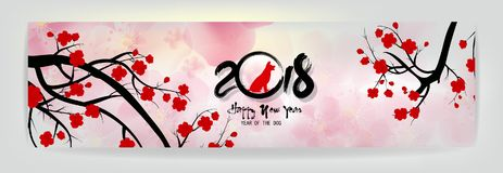 Stellen Sie Fahnen-guten Rutsch ins Neue Jahr-Grußkarte 2018 und chinesisches neues Jahr des Hundes, Kirschblütenhintergrund ein Lizenzfreie Stockfotografie
