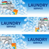 Stellen Sie Fahnen-Wäsche-Service ein Plakatschablone für Hausreinigung Lizenzfreies Stockbild