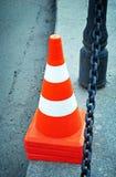 Stellen Sie Farbenkegel für Einschließungsstraße ein Stockfotografie