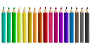 Stellen Sie farbige Bleistifte lokalisiert ein Stockbild