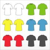 Stellen Sie farbige T-Shirts ein Farbige Schablonensammlung T-Shirts des kurzen Ärmels Stockfotos