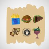 Stellen Sie Farbvektor-Skizzenikonen des Lebensmittels ein Stockfotografie