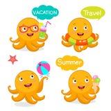 Stellen Sie Ferien-Ikonen und Ballone ein Sommer-Reise-Illustrations-Charakter-Maskottchen Sommer mit netter Krake Vektor-Tentake Stockbild