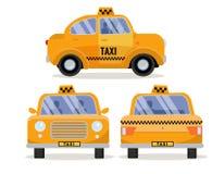 Stellen Sie 3 Front, Rückseiten- und von den Seitenansichten des Taxi-Autos ein Gelbes lustiges nettes Stadtfahrzeug, einbrennend stock abbildung