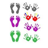 Stellen Sie Fußdrucke und Palmendrucke ein Lizenzfreie Stockfotos