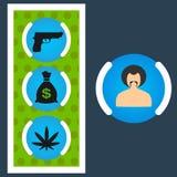 Stellen Sie Gangstergeld, Waffen ein und mischt ENV Drogen bei Stockfotografie