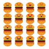 Stellen Sie Gefühl-Hamburger ein Vektorart-Lächelnikonen lizenzfreie abbildung