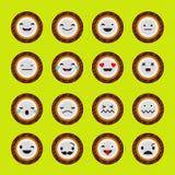 Stellen Sie Gefühl-Kokosnuss ein Vektorart-Lächelnikonen lizenzfreie abbildung