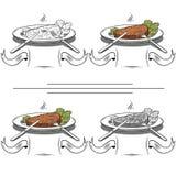 Stellen Sie gegrilltes Steak und grünen Kopfsalat - Illustration ein Stockfotos