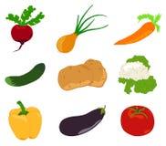 Stellen Sie Gemüse, Ikone ein Stockbild