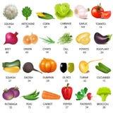 Stellen Sie Gemüse mit Kalorien auf Weiß ein Stockfotos