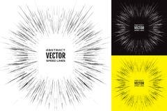 Stellen Sie Geschwindigkeitslinie ein Festliche Illustration mit Effektenergieexplosion Element der Auslegung Vektor Stockfotos