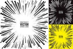 Stellen Sie Geschwindigkeitslinie mit Kreisen ein Festliche Illustration mit Effektenergieexplosion Element der Auslegung Vektor Lizenzfreies Stockfoto