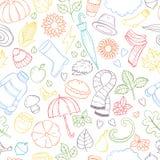 Stellen Sie gezeichnete Gekritzelillustrationen des Herbstes Hand ein Stockfotografie