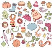 Stellen Sie gezeichnete Gekritzelillustrationen des Herbstes Hand ein Hintergrund, Schablone, Hintergrund, Tapete, Ikonensammlung Lizenzfreies Stockbild