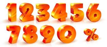 Stellen Sie glänzendes Zahl- und Prozentzeichen des Volumens ein Stockbilder
