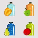 Stellen Sie Gläser mit Gemüsekonserven und Früchten ein lizenzfreie abbildung