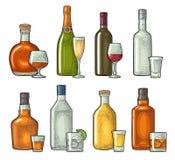 Stellen Sie Glas- und Flaschenwhisky, Wein, Tequila, Kognak, Champagner ein Vektorstich lizenzfreie abbildung