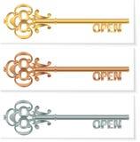 stellen Sie goldenen Schlüssel der Weinlese ein, um Bronzesilber zu öffnen Lizenzfreies Stockfoto