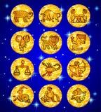 Stellen Sie Goldfolienkreise mit Tierkreissymbolen auf blauem sternenklarem backgro ein lizenzfreie abbildung