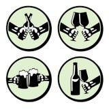 Stellen Sie Hände mit Getränk ein Stock Abbildung