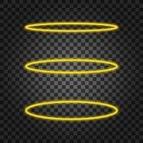 Stellen Sie Haloengelsring ein Heiliger goldener Nimbus-Kreis auf schwarzem transparentem Hintergrund Auch im corel abgehobenen B stock abbildung