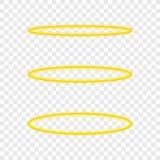 Stellen Sie Haloengelsring ein Heiliger goldener Nimbus-Kreis auf transparentem Hintergrund Auch im corel abgehobenen Betrag stock abbildung