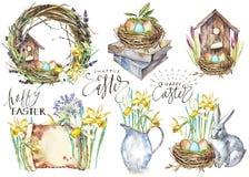 Stellen Sie Hand gezeichnete Aquarellkunsteier mit Frühlingsblumen ein Getrennte Abbildung auf weißem Hintergrund Beschriften - g stock abbildung