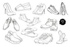 Stellen Sie Hand gezeichnete grafische Mann-und Frauen Schuhe, Schuhe ein Zufällig und tragen Sie Art, Gummiüberschuhe für Schuhe Lizenzfreies Stockbild