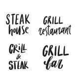 Stellen Sie Handvon den gezogenen Logokonzepten für Grill ein Steakbar, Restaurant beschriftung lizenzfreie abbildung