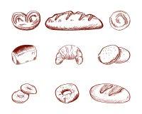 Stellen Sie Handvon der gezogenen Gekritzel-Karikaturnahrung ein: Donut, Brötchen, Keks, geschnittenes Brot, Bagel, französisches vektor abbildung