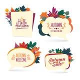 Stellen Sie Herbstblasen ein Entwerfen Sie Fahne mit Herbstverkauf und hallo Logo Rabattkarte für Herbstsaison mit Kraut förderun stock abbildung