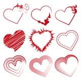 Stellen Sie Herzen, Valentinstagförderungen ein Stockfotos