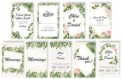 Stellen Sie Hochzeits-Einladung mit Pfingstrosen, Blumen und Grünblättern ein rsvp ist ein modernes Kartendesign stock abbildung