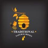 Stellen Sie Honigausweise und -aufkleber ein Abstraktes Bienendesign Stockfotos